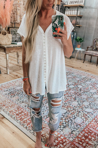 Oversized white tunic cover up.