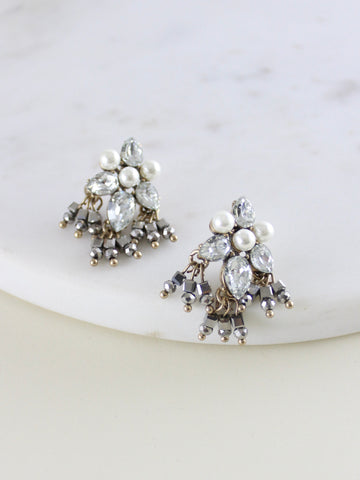 Manx Crystal & Pearl Cluster Earrings