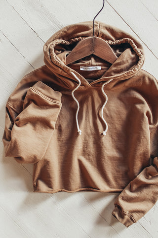 Brown organic cotton hoodie.