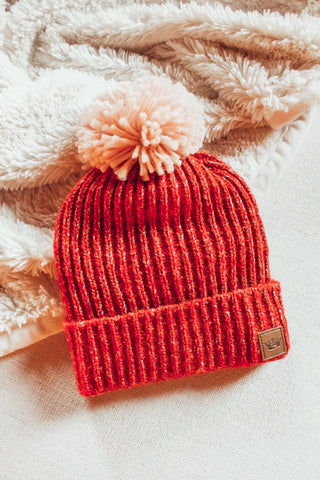 Red Speckled Pom Pom Beanie