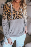 Women's leopard and grey fleece pullover hoodie.