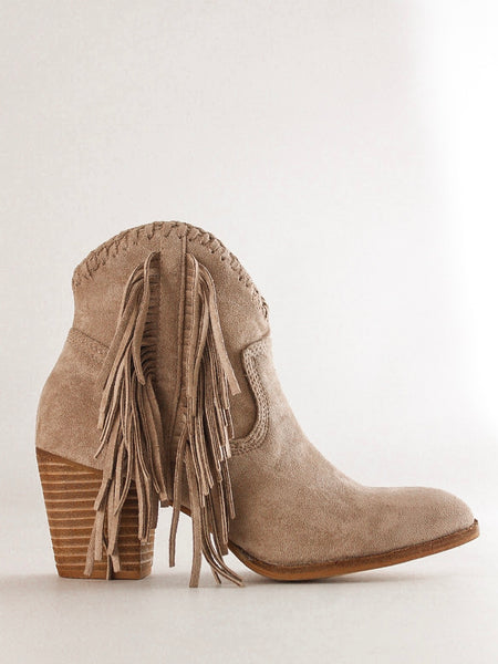 Heeled Fringe Booties