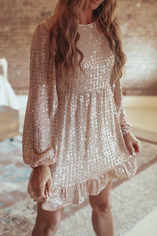 Rose Gold Sequin dress.