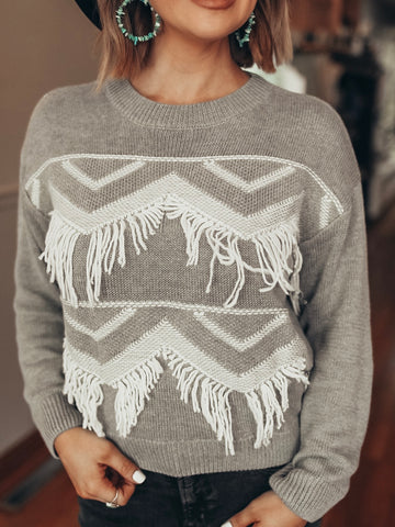 Western Fringed Sweater