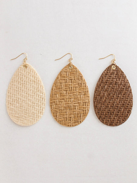 Grass Woven Teardrop Earrings