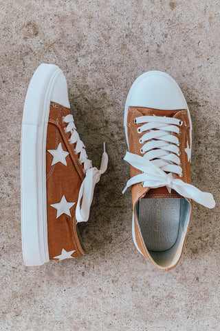 canvas star print sneakers.