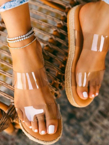 Clear Strap Espadrille Sandals