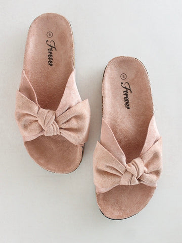 Suede Bow Slide
