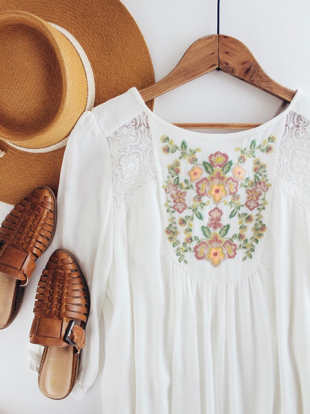 Bibbed Embroidered Dress