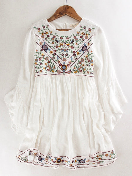Floral Embroidered Swiss Dot Dress