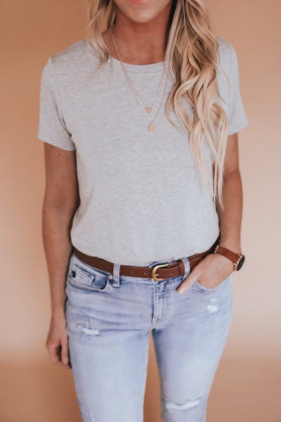 Solid grey short sleeve bodysuit