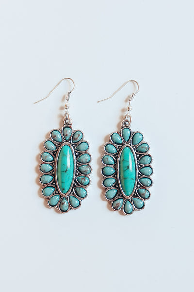Oval Concho Natural Stone Earring - Turquoise