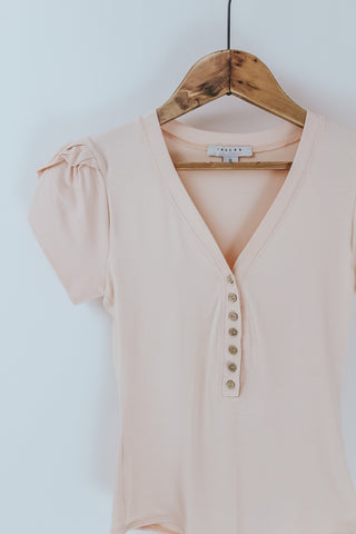 Petal Sleeve Button Front Bodysuit