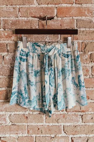 Palm Print Open Wrap Shorts
