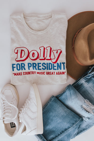 Dolly for President graphic tee.