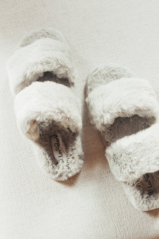 Faux Fur Double Strap Slippers