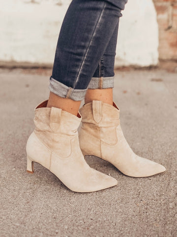 Taupe Kitten Heeled Slouchy short bootie. Faux suede