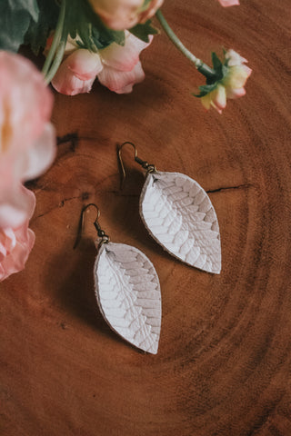 Jones & Lake Medium Herringbone Leather Leaf Earrings