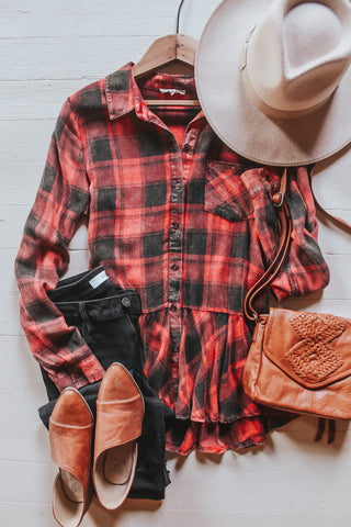 Washed Plaid Ruffled Shirt