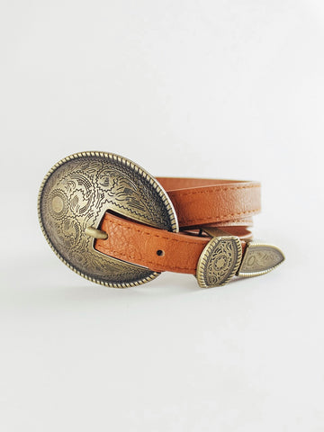 Camel Skinny Belt with Buckle