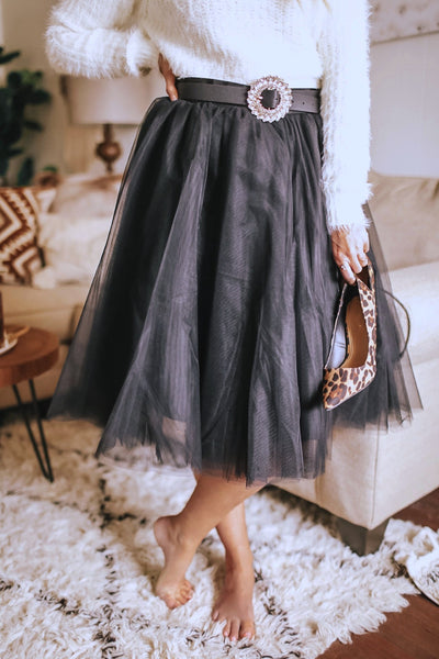 Black tulle midi skirt.