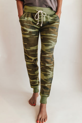 Eco fleece green camo joggers. Alternative Apparel.