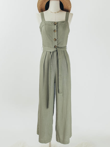 Linen Blend Button Front Jumpsuit