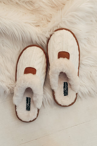 Fur Lined Slippers - Off White