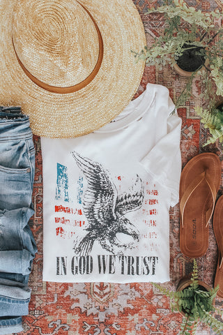In God We Trust graphic tee.
