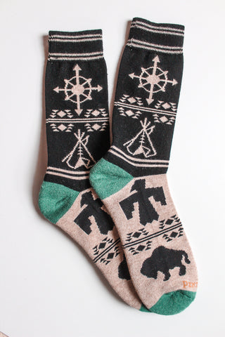 Pendleton Crew Socks - Green Buffalo