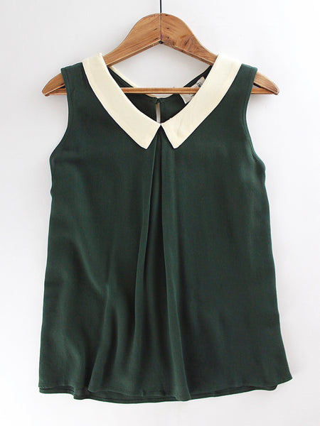 Olive Sleeveless Blouse
