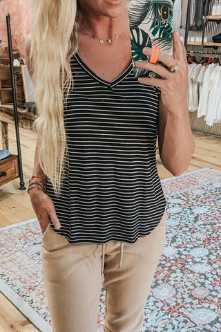 Basic Stripe V-Neck Tank Top