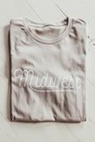 Midwest graphic t-shirt. Tan.