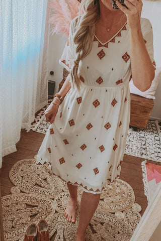 Off White V-Neck Embroidered Midi Dress