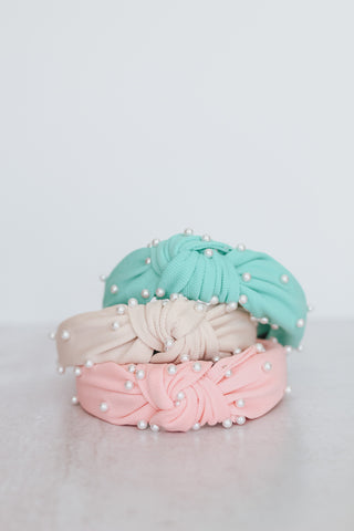 Spring Top Knot pearl studded headbands.