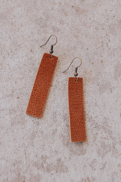 Jones & Lake Leather Drop Bar Earrings