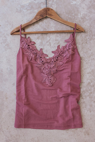 Deep lilac lace camisole.