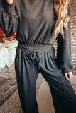 Women's black loungewear set.