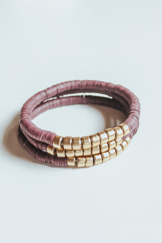 Beaded Stack Bracelets - Plum