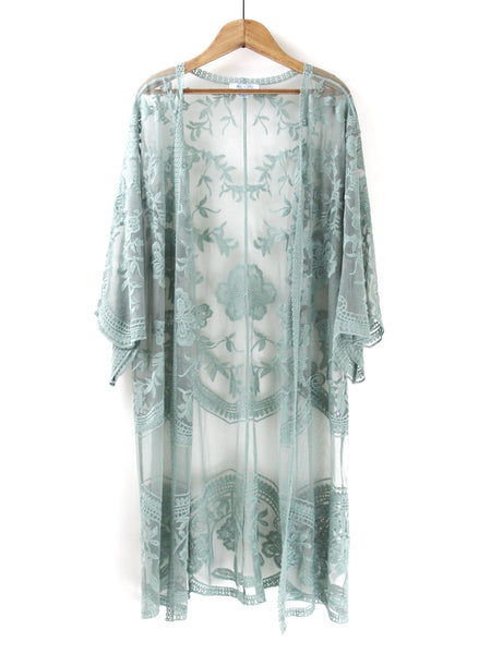 Dusty Sage Lace Duster