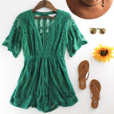 Embroidered Lace Romper