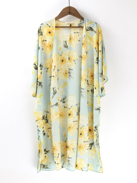 Sky Blue & Yellow Floral Duster