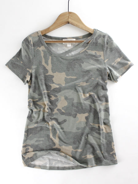 Military Print Jersey Knit Top