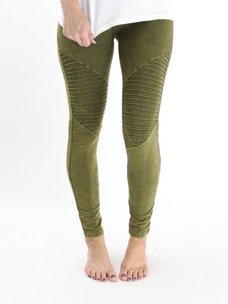 Mineral Washed Moto Leggings