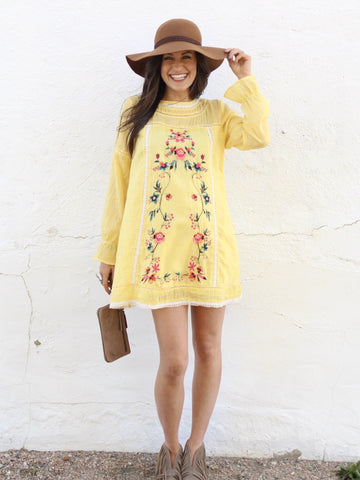 Lemon Floral Embroidered Dress
