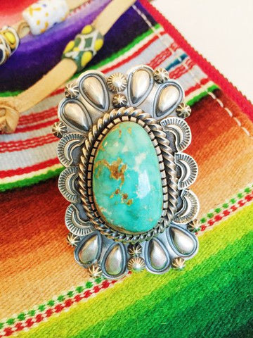 Heavy Repousse Turquoise Ring