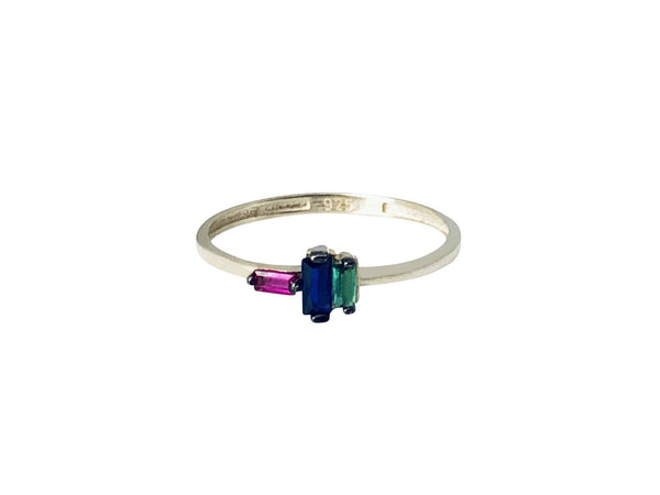 Modern Opus Jewel Toned Baguette Ring