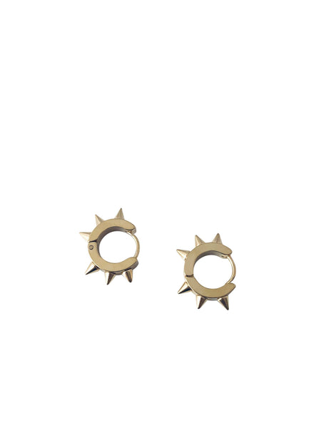 Modern Opus Steel Spike Huggie Earrings