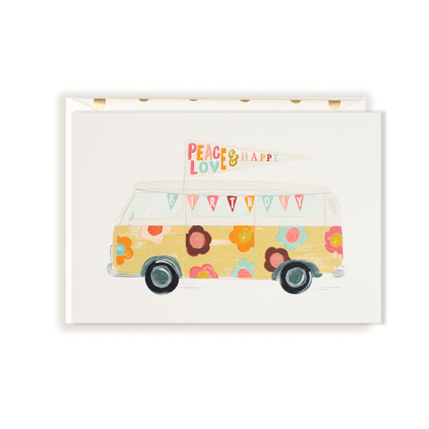 VW Floral Bus-Peace Love Happy Birthday Card