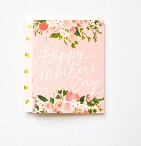 Happy Mother's Day Card Script and Floral